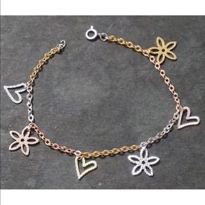 Jewelry - New 14K Tri Color Gold on 925 Silver  Bracelet